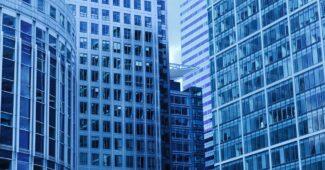 blå bygning